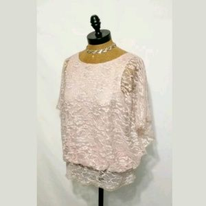 ECI New York Lace Top  Batwing Sleeves